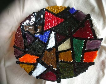 Fused Glass Fruit Bowl - Multi-coloured