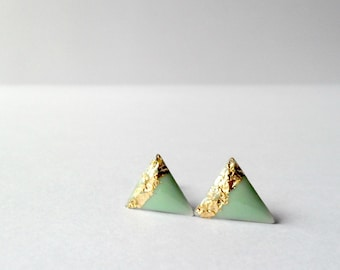 Mint green triangle studs with gold foil, gold mint geometric post earrings, free shipping, tiny everyday earrings
