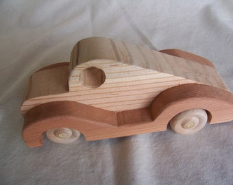 Toy Sporty Car Fastback Handmade from Upcycled Redwood and Pine Truck for the Kids, Children Waldorf Creative Montessori