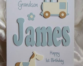 Godson birthday card etsy personalised handmade 1st 2nd 3rd etcrthday card with any text of your choice bookmarktalkfo Images
