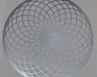 Torus sacred geometry silver vinyl decal