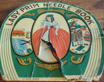 Antique Lady Prim Needle Book