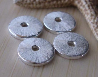 Textured organic tiny 6mm sterling silver bead caps.  Brushed artisan handmade jewelry findings. AGB Katina 2 pieces. Made to order.
