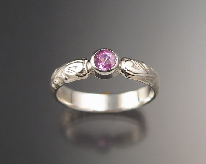 Pink Sapphire Victorian floral band Wedding Engagement ring crafted in Sterling Silver made to order in your size