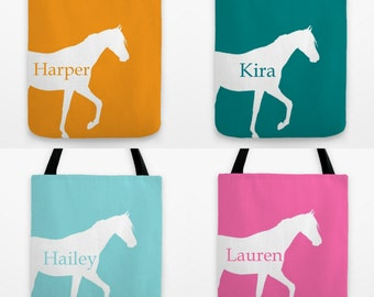 Horse Tote Bag, Gifts for Horse Lover, Several sizes and colors, Personalized