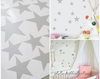 Stickers star grey bedroom decor
