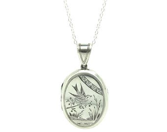 Antique Victorian Silver Locket | Antique Silver Locket | Mourning Locket | Sterling Silver Locket | Bird Locket | Mourning Locket Necklace