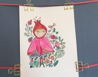 Flower Girl Original Watercolor with ink