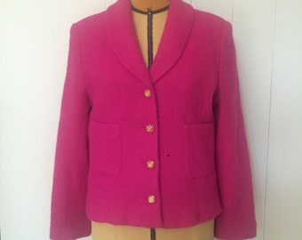 Vintage 80s Bloomingdale's Hot Pink Wool Blend Blazer / Gold Buttons / Made in the USA / Women's Size 12