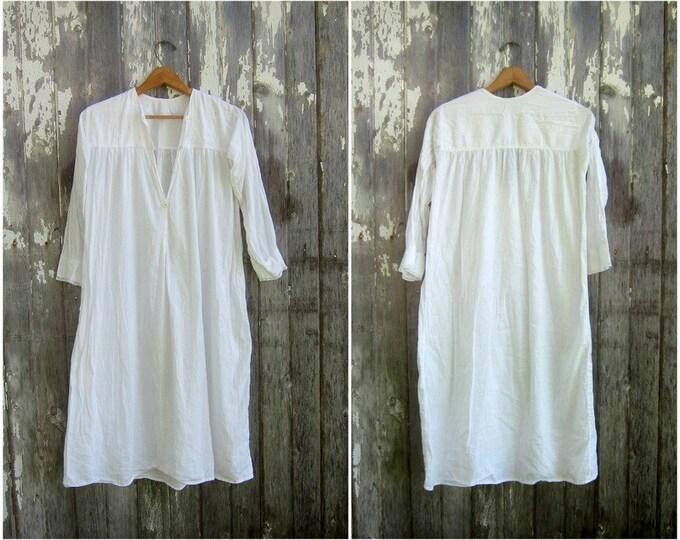 Antique Cotton Slip Dress White Edwardian Nightgown Victorian Thin Cotton Night Gown Slip Dress 1900's / 1910's Womens