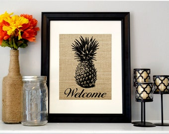 Pineapple Welcome Sign | Burlap Pineapple Decor