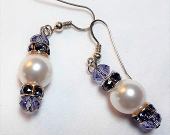 Swarovski Crystal Pearl & Tanzanite Earrings