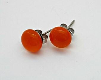 Orange Fused Glass Mini Stud Earrings