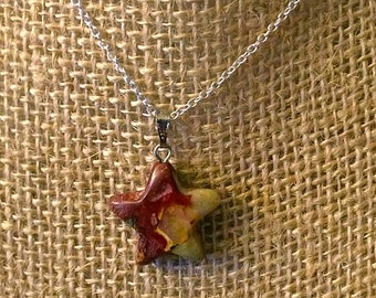 """Gorgeous Breciated Red JASPER STAR Pendant Necklace - Sterling Silver 18"""" Chain - Natural Stone Necklace - Agate -  Versatile"""