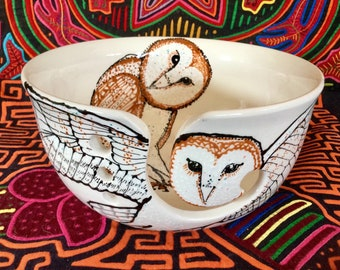 Barn Owl Yarn Bowl Large Hand Painted Ceramic with Four Yarn Channels Full Color