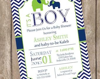 Elephant Boy Baby Shower Invitation, elephant baby shower, lime and navy baby shower invitation, boy baby shower invitation lne1