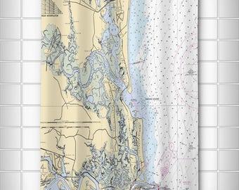 FL: Amelia Island, FL Nautical Chart Shower Curtain, Map Shower Curtain