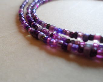 Spectacle/Glasses Chain Spiral Bead Mixed Lilac Purple
