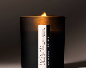Black Ash scented candle   soy-coconut-apricot wax blend   wood wick   FREE DOMESTIC SHIPPING