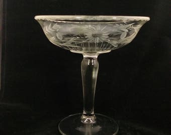 Vintage Westmoreland Compote 1800 line  1920's Wheel Cut Floral Design Beautiful