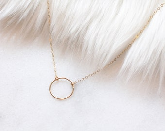 Open circle gold filled necklace, everyday necklace, layering jewelry, layered, 14kngold filled, flat cable chain,