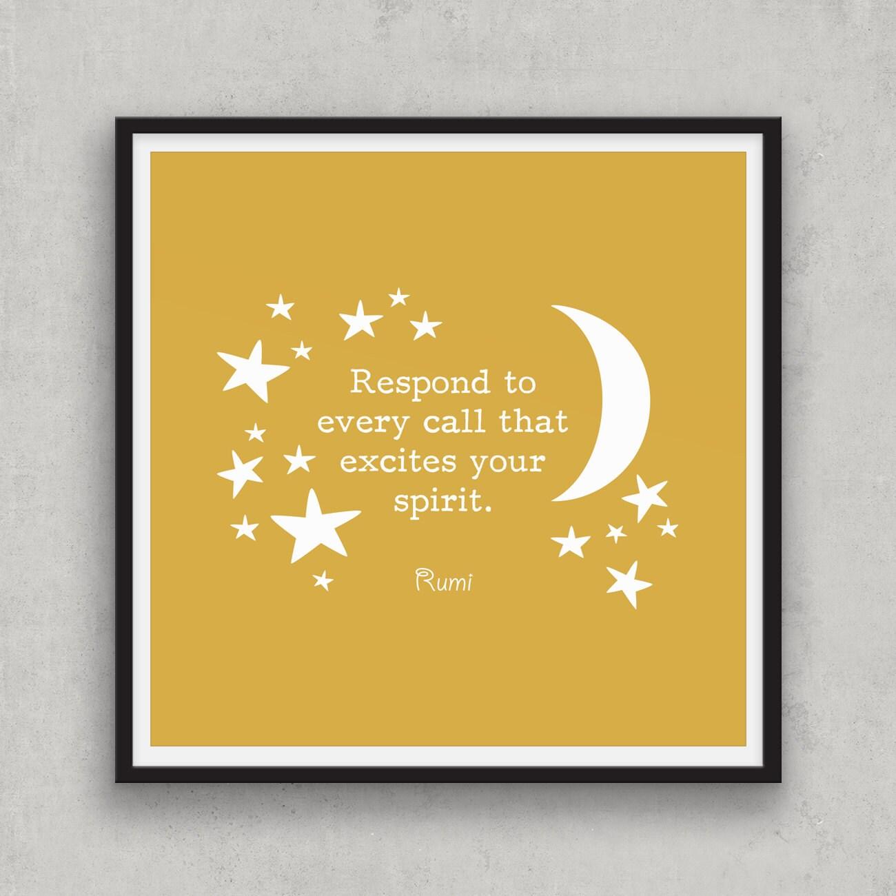 Rumi SPIRIT quote art Spicy Mustard wall art Life quote art