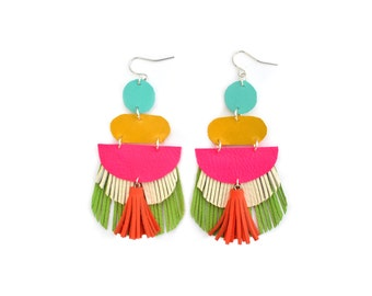 Tassel Earrings, Neon Fringe Earrings, Geometric Earrings, Hot Pink Earrings, Green Leather Earrings, Orange Yellow Turquoise Earrings