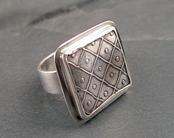 Nina Ring - Fine Silver and Sterling Silver - Size 7.25