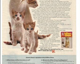 1975 Advertisement Kitten Chow Purina How To Grow Cat Food Dry Kibble Pet Store Shop Vet Veterinarian Rescue Office Groomer Wall Art Decor