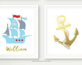 Custom Name Print, Pirate Ship, Set of 2 Nautical Prints, Nautical Name Print, Anchor Wall Decor, Anchor Print, Nursery Wall Art, D83-S6