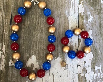 Wonder Woman necklace  - Wonder Woman Party Favor - Superhero Girl Necklace - Wonder Woman Costume Jewerly - Super Girl Party Favor -