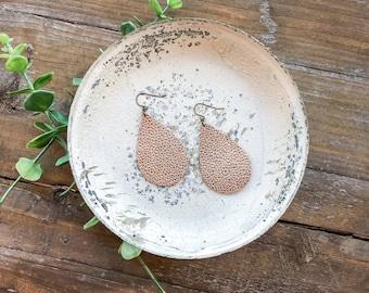 Leather teardrop earrings // rose gold leather earrings // tear drop earrings // lightweight earrings // statement earrings // rosegold ear