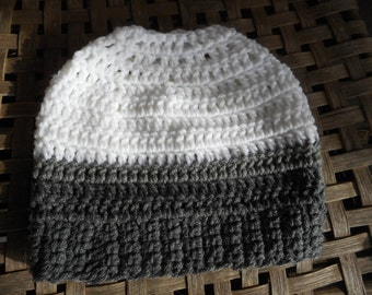 The Snowy Owl Messy Bun Beanie Hat Handmade Crochet Chunky Acrylic Yarn Boho Cap in Snow white, Pewter, & charcoal gray