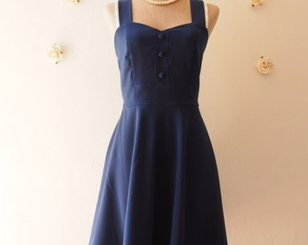 Navy Bridesmaid Dress Navy Tea Dress Vintage Inspired Navy Party Dress Navy Dress Swing Dress Modest Dress Navy Summer Dress/ XS-XL, Custom