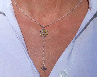 Lariat necklace bee, Y necklace honeycomb, Short lariat necklace, Y drop necklace, Dainty Y necklace, Y necklace for women, Bee lariat charm