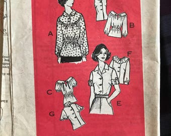1970s Mail Order 9382 bust 32.5 blouse variations shortsleeve and long sleeve