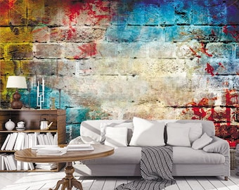 Multicolor Brick Wall Graffiti Art Wallpaper 3D Wall Sticker Wall decor Graffiti Wall Mural Self Adhesive Exclusive Design Photo Wallpaper