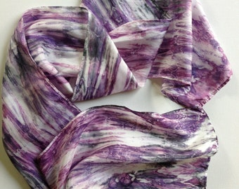 Purple Silk Scarf / Purple and White with Black Accents / Hand Dyed Scarf / Long Scarf / Women's Scarf / Men's Scarf / Gift for Her or Him