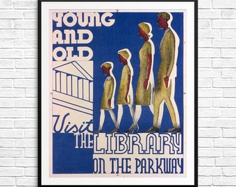 Library poster, vintage library posters, vintage book art, antique book art, gifts for readers, library decor, reading decor, book decor