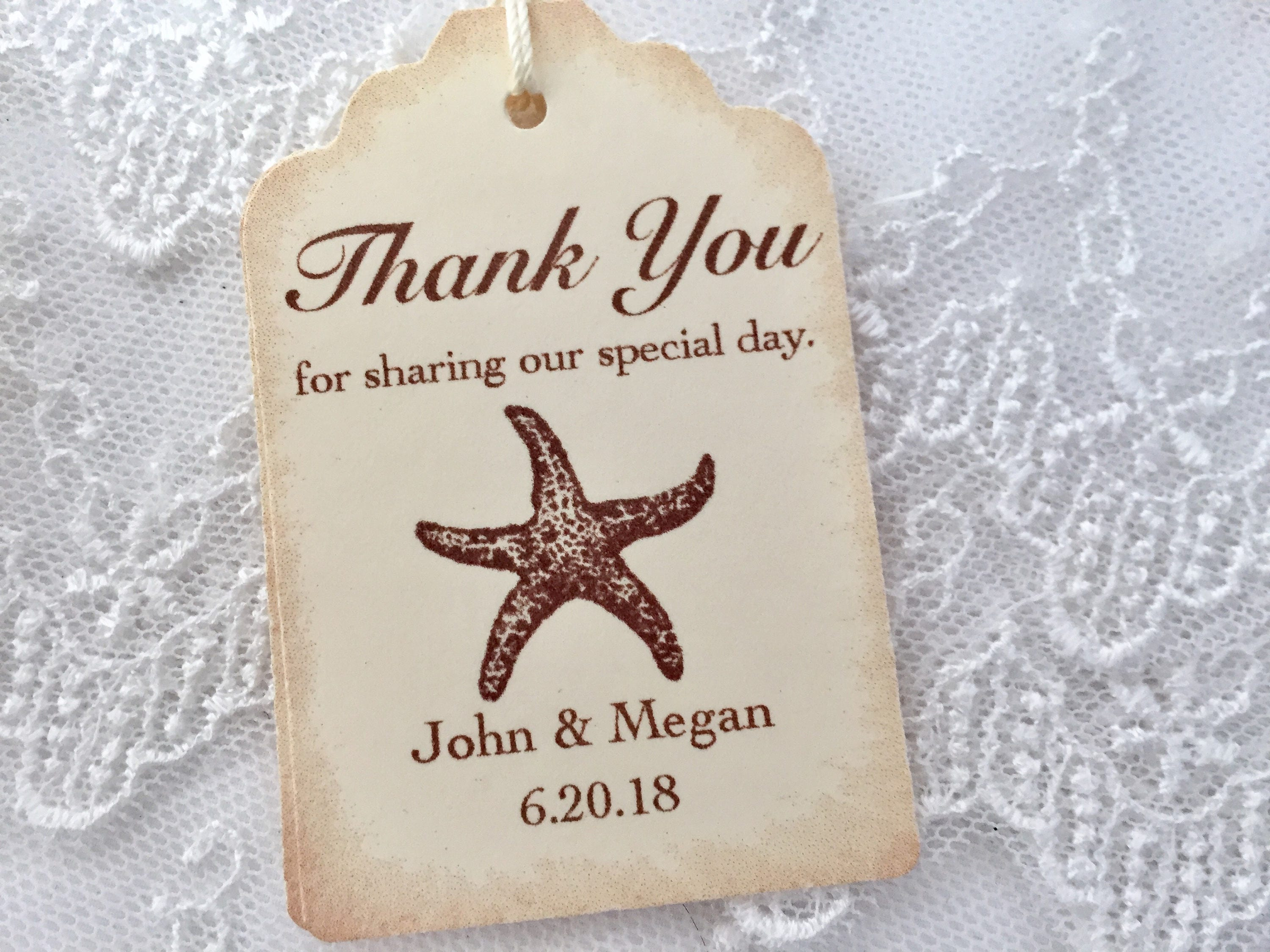 Starfish Tags Beach Wedding Favor Tags Personalized Set of