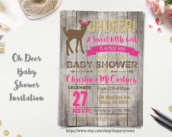Oh Deer Baby Shower Invitation, Little Deer Baby Shower, Rustic Girl Baby Shower, Little Buck Invite, Hunting Baby Shower, Arrow Printable