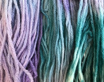 """Purple and Teal Wool Yarn - Worsted Weight 4 ply - Hand dyed Variegated - """"Teal Grapes Mystery Sheep"""""""