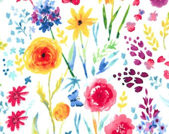 FAT QUARTERS- Cotton Fabric- Flower Fabric- Aqua Fabric- Floral Fabric- Blue Flower- Floral Fabric- Pink Flower Fabric- Woven Fabric- Yellow
