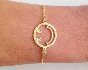 20% off-SALE!!! - Gold Smile Bracelet - Friendship Bracelet - Delicate Bracelet - Simple Bracelet - Dainty Bracelet - Gold Bracelet