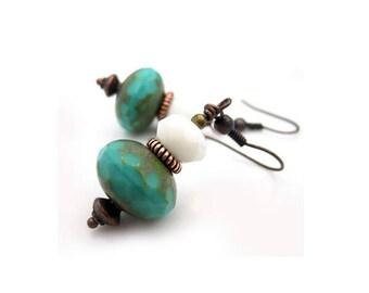 Gift for Her, Turquoise Dangle Earrings, Stocking Stuffer for Women, December Birthstone Earrings, Christmas Gifts for Mom, Boho Earrings