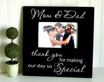Wedding Thank You Frame, Parents Thank You Frame, Mom and Dad Thank You Parents Gift, Thank You for Making Our Day So Special, Wedding Gifts