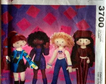 "McCalls 3700 -  14"" Fashion Dolls Plush Toy Pattern"