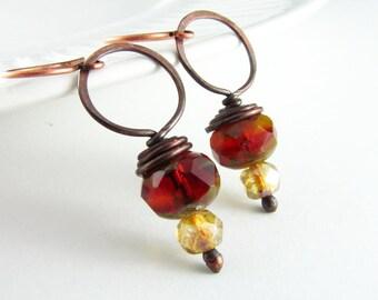 Wire Wrap Earrings Copper Earrings Wire Wrapped Jewelry Garnet Earrings Wire Wrap Jewelry Copper Jewelry Hoop Earrings Copper Wire Wrap