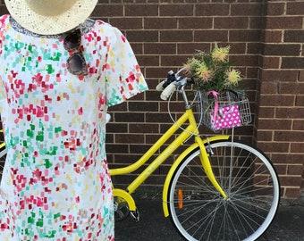 Size 16 - Colourful watercolour print shift dress