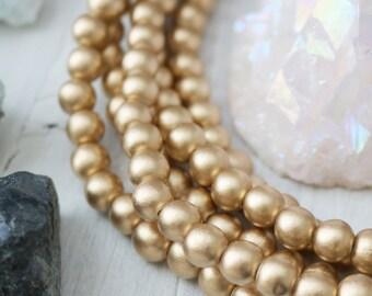 8mm Wood Beads, Gold Wood Beads, 8mm Beads, Gold Beads, Gold Wood, Bright Gold, 8mm Gold Beads, Waxed Wood Beads, 8mm Wood,